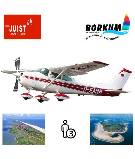 Proefles   Vliegles Cessna 182 Eelde - Juist - Borkum - Eelde (2 eilandenvlucht)
